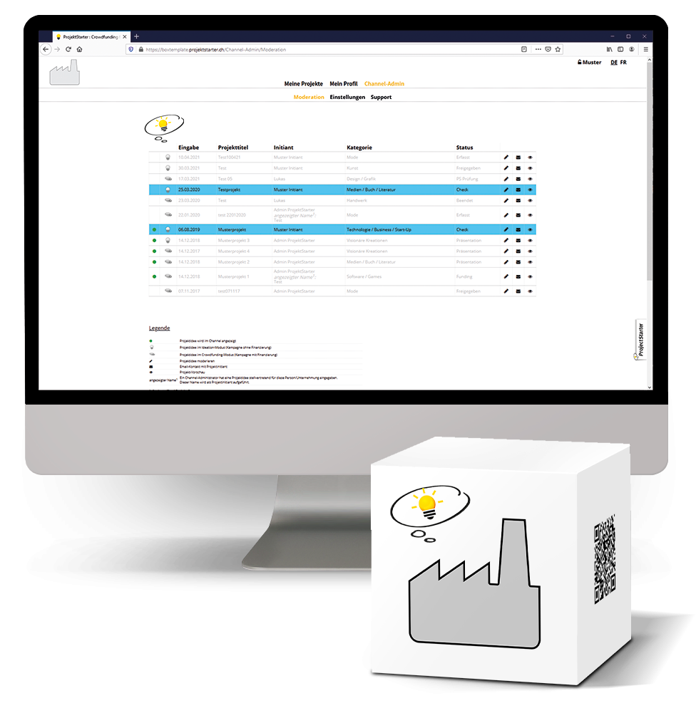 Weblösung ProjectStarter BOX